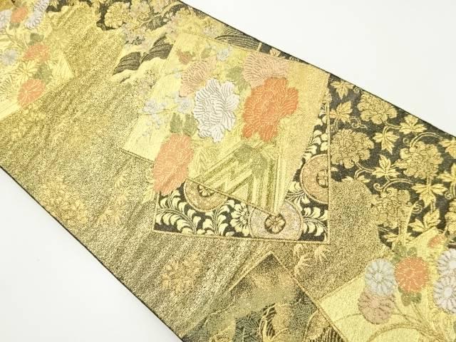 本金色紙に牡丹・菊模様織り出し袋帯【リサイクル】【中古】【着】 宗sou