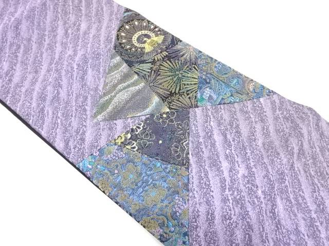 七福織物製 切嵌孔雀に松・花唐草模様織出し袋帯【リサイクル】【中古】【着】 宗sou