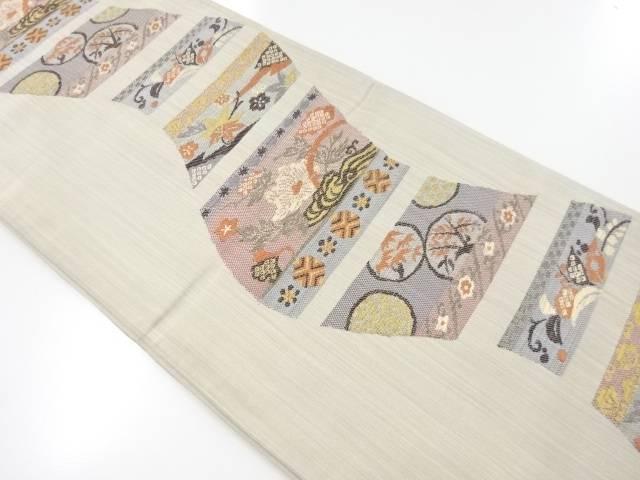 色紙に牡丹・楓・草花模様織り出し袋帯【リサイクル】【中古】【着】 宗sou