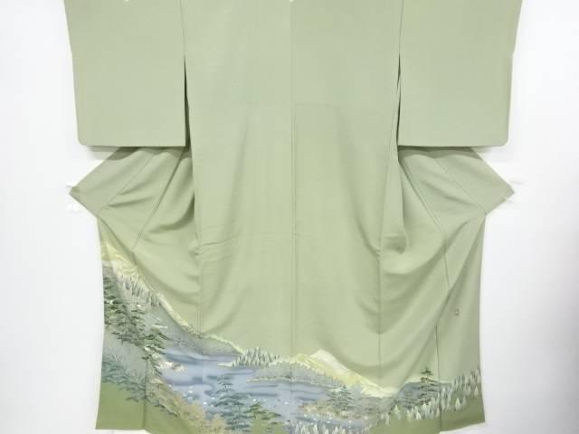 作家物 手描友禅松・笹に森林風景模様三つ紋色留袖(比翼付き)【リサイクル】【中古】【着】 宗sou