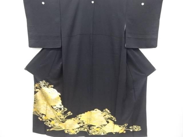 和田光正作 金彩扇面に松・梅・屋敷模様留袖(比翼付き)【リサイクル】【中古】【着】 宗sou