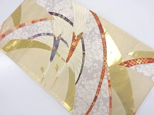【茶道具・茶道・着物】 未使用品 本金箔能衣洋鳥小紋織出し袋帯【リサイクル】【着】 宗sou