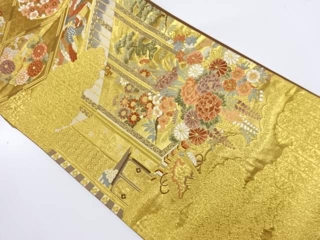 ますいわ屋 寝殿に鳳凰・草花模様織出し袋帯【リサイクル】【中古】【着】 宗sou