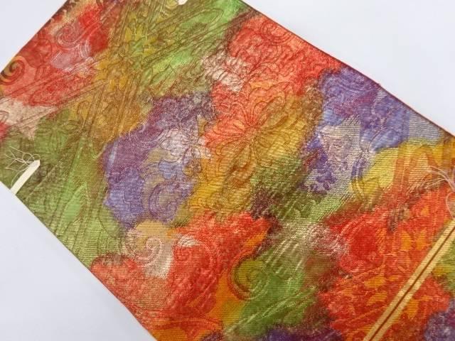 未使用品 川島織物製 襷に花唐草模様織出し袋帯【リサイクル】【着】 宗sou