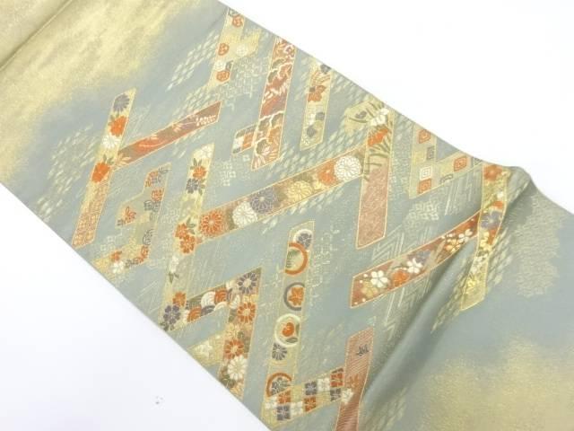 抽象紗綾形に草花模様織出し袋帯【リサイクル】【中古】【着】 宗sou