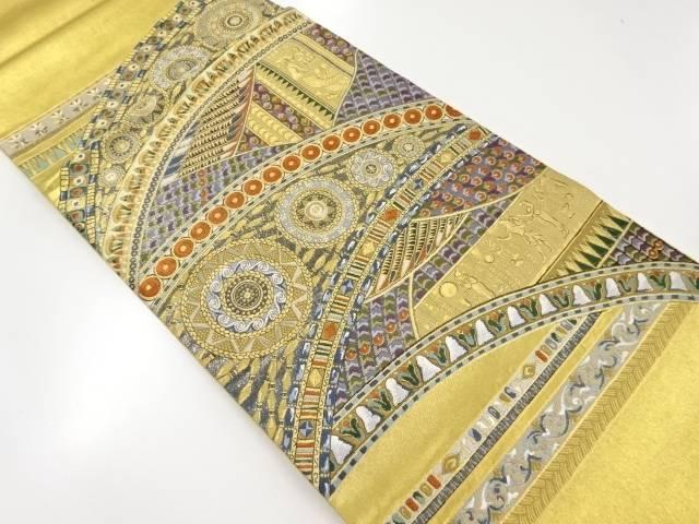 本金箔ギリシャ宮殿織出袋帯【リサイクル】【中古】【着】 宗sou