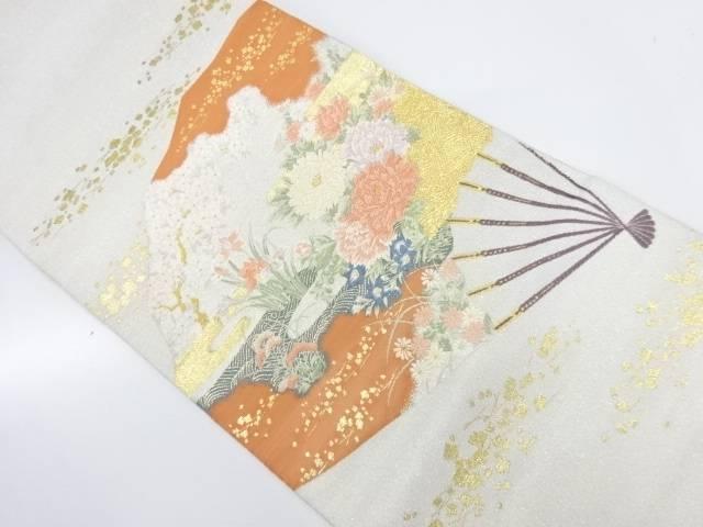扇面花園草花文様織出し袋帯【リサイクル】【中古】【着】 宗sou