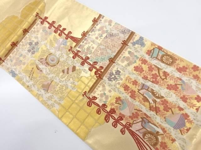 相良刺繍几帳に御所車・草花模様袋帯【リサイクル】【中古】【着】 宗sou