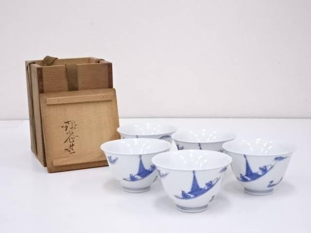 錦光山造 青華舟図煎茶碗5客【中古】【道】 宗sou