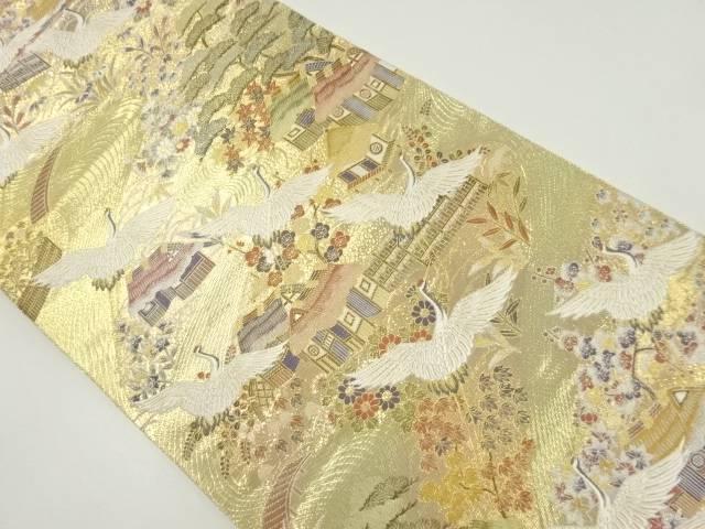 本金茶屋辻に群鶴模様織り出し袋帯【リサイクル】【中古】【着】 宗sou