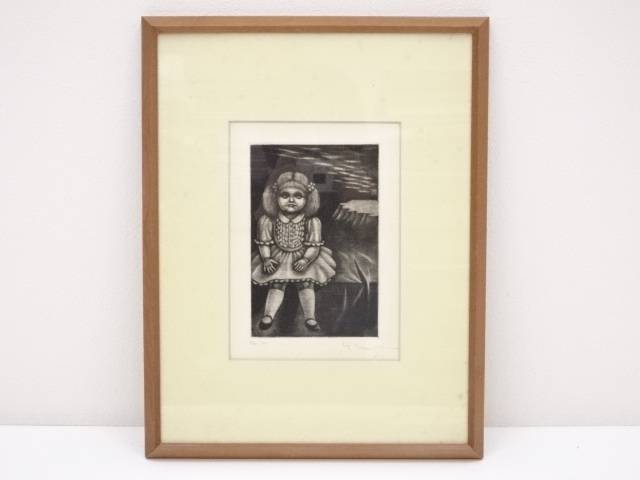 絵画 女の子の肖像 銅版画 2/30 額装【中古】【道】 宗sou