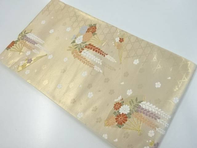 未使用品 本金籠目に花扇模様織り出し袋帯【リサイクル】【着】 宗sou