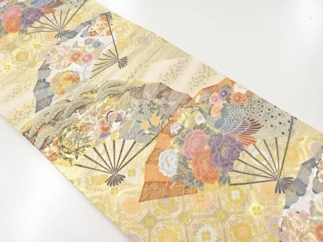 本金箔「桧扇孔雀の調」織出袋帯【リサイクル】【中古】【着】 宗sou