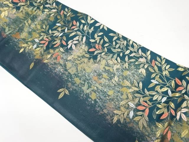 引箔草葉模様織出し袋帯【リサイクル】【中古】【着】 宗sou