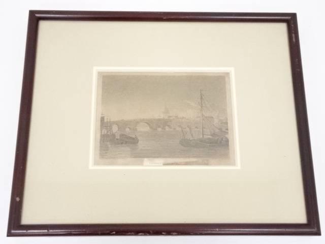 絵画 ジョージ・アーノルド 「ロンドン橋」 銅版画 額装【中古】【道】 宗sou