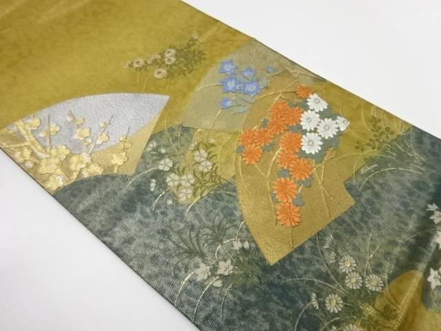 地紙に草花模様刺繍袋帯【リサイクル】【中古】【着】 宗sou