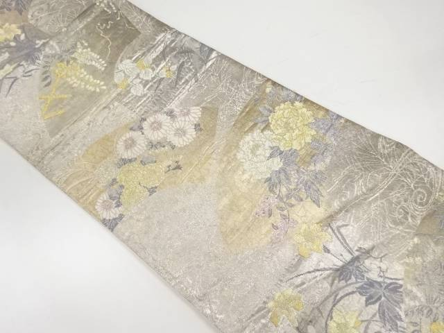 【茶道具・茶道・着物】 地紙に草花模様織出し袋帯【リサイクル】【中古】【着】 宗sou