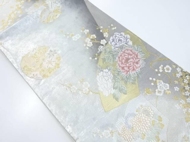 金銀糸地紙に牡丹花丸紋織出袋帯【リサイクル】【中古】【着】 宗sou