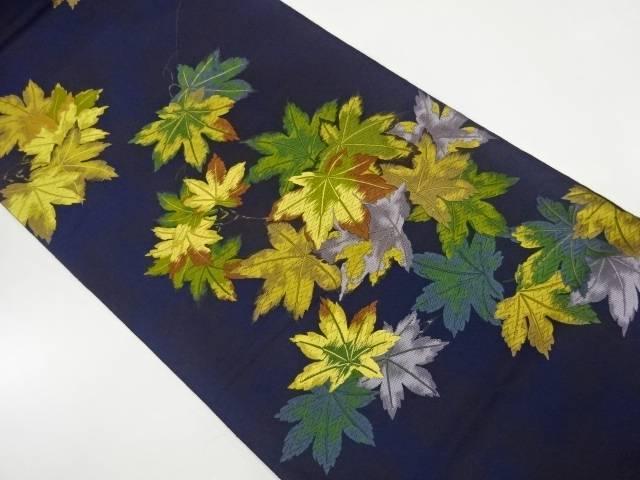 ヒナウチワカエデ模様織出し袋帯【リサイクル】【中古】【着】 宗sou