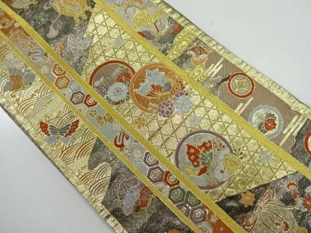 虫籠に蝶・花鳥模様織出し袋帯【リサイクル】【中古】【着】 宗sou