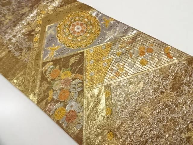 純金二重箔花鳥に華紋模様織出し袋帯【リサイクル】【中古】【着】 宗sou
