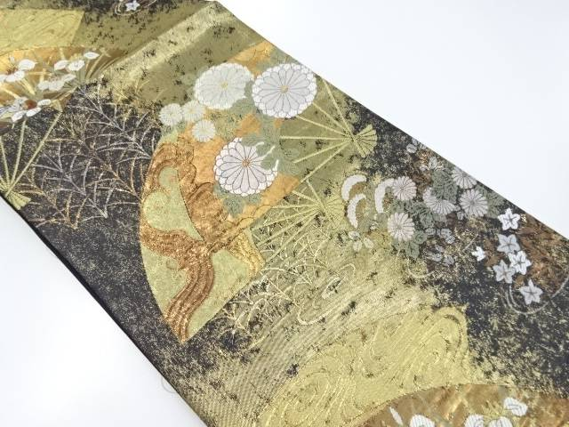 本金花扇模様織り出し袋帯【リサイクル】【中古】【着】 宗sou