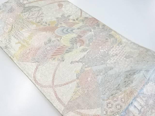 佐賀錦 巻物に御所車に花鳥模様織り出し袋帯【リサイクル】【中古】【着】 宗sou