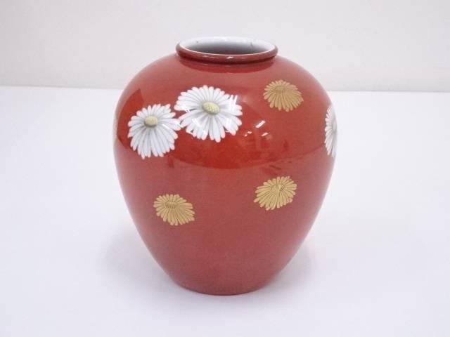 オールドノリタケ 赤地菊文花瓶【中古】【道】 宗sou