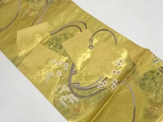 未使用品 組紐に色紙模様織出し袋帯【リサイクル】【着】 宗sou