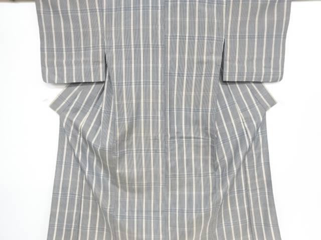 格子織り出し手織り節紬単衣着物【リサイクル】【中古】【着】 宗sou