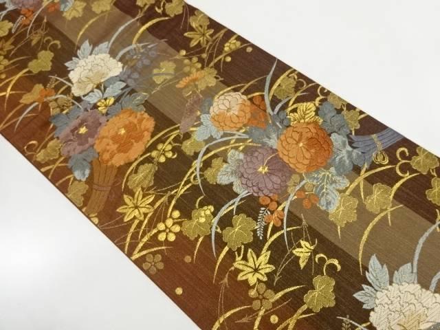 唐織吹き寄せに花束模様織出し袋帯【リサイクル】【中古】【着】 宗sou