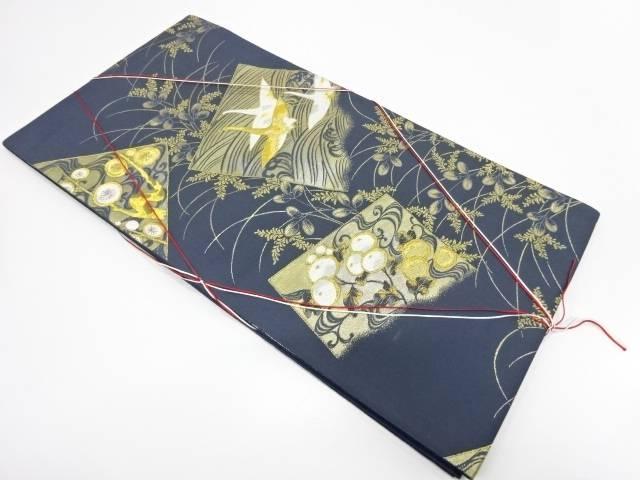未使用品 色紙に鶴・草花模様織出し袋帯【リサイクル】【着】 宗sou