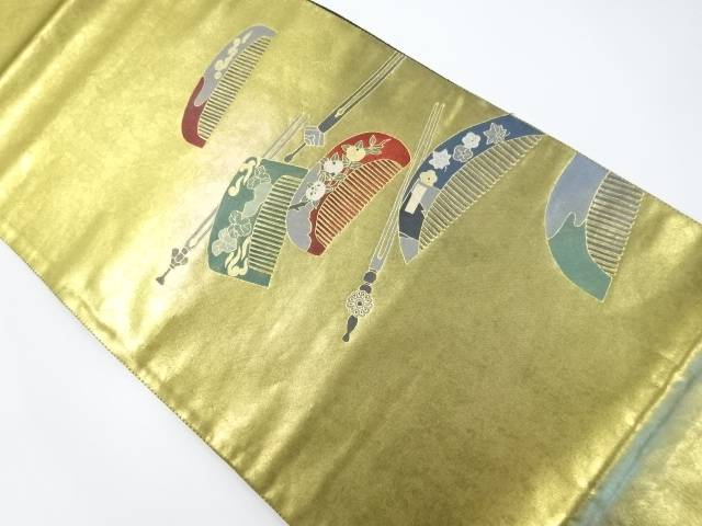 作家物 本金箔手描き櫛・簪模様袋帯【リサイクル】【中古】【着】 宗sou