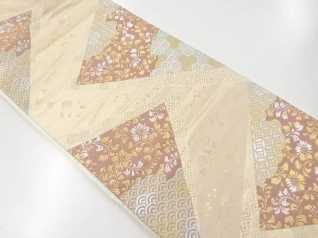 金銀糸色紙に花唐草古典柄織出袋帯【リサイクル】【中古】【着】 宗sou