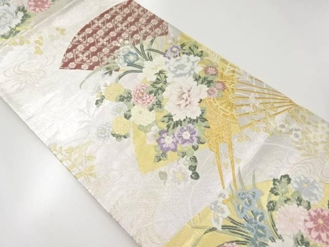 本銀箔花扇模様織出袋帯【リサイクル】【中古】【着】 宗sou
