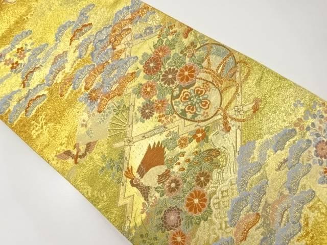 本金松皮菱に和楽器・花鳥模様織出袋帯【リサイクル】【中古】【着】 宗sou