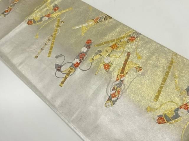 引箔笛に花模様織出し袋帯【リサイクル】【中古】【着】 宗sou