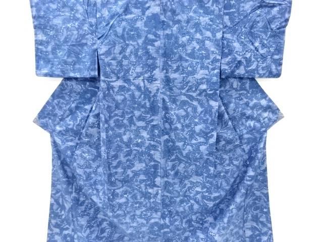 草花模様手織り真綿紬着物【リサイクル】【中古】【着】 宗sou