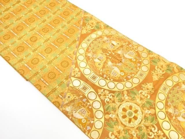 丸紋に狩猟・草花模様織出し袋帯【リサイクル】【中古】【着】 宗sou