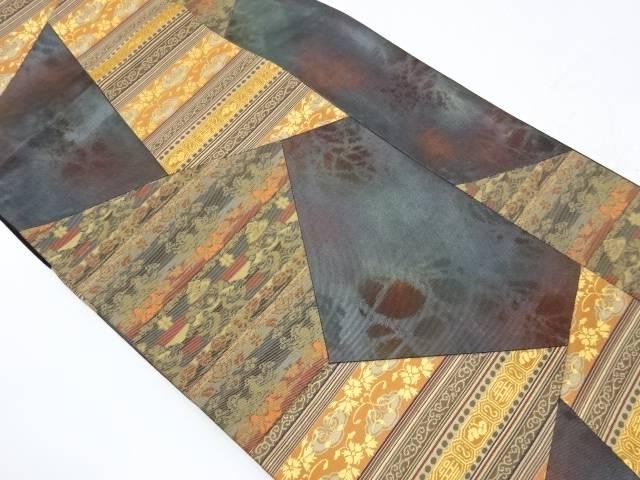 未使用品 切り嵌め横段に向かい鳥・花唐草模様織出し袋帯【リサイクル】【着】 宗sou