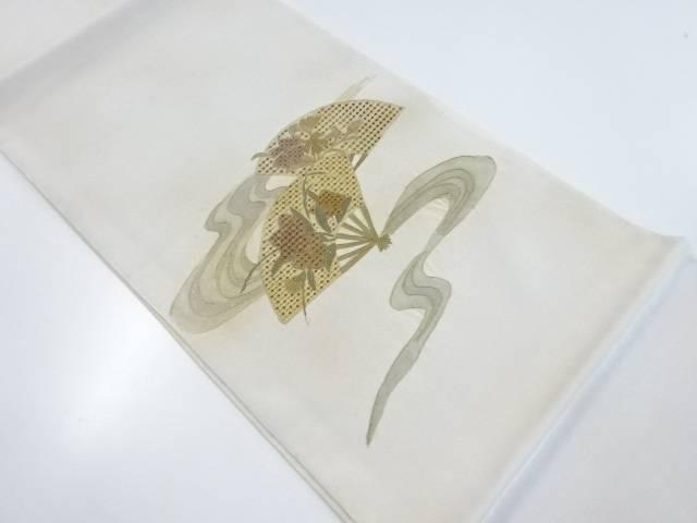汕頭蘇州刺繍流水に花扇模様袋帯【リサイクル】【中古】【着】 宗sou