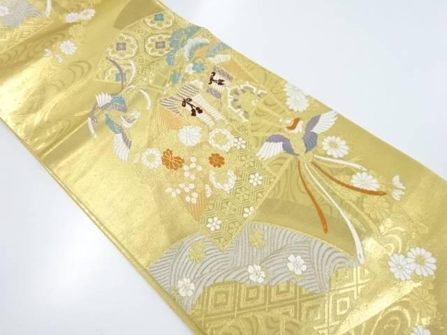 本金箔扇面に菊・松・御所車・尾長鳥模様織り出し袋帯【リサイクル】【中古】【着】 宗sou