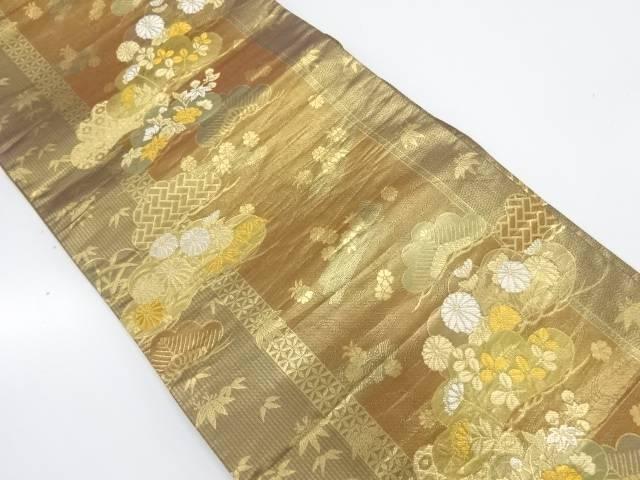 松竹に秋草模様織出し袋帯【リサイクル】【中古】【着】 宗sou