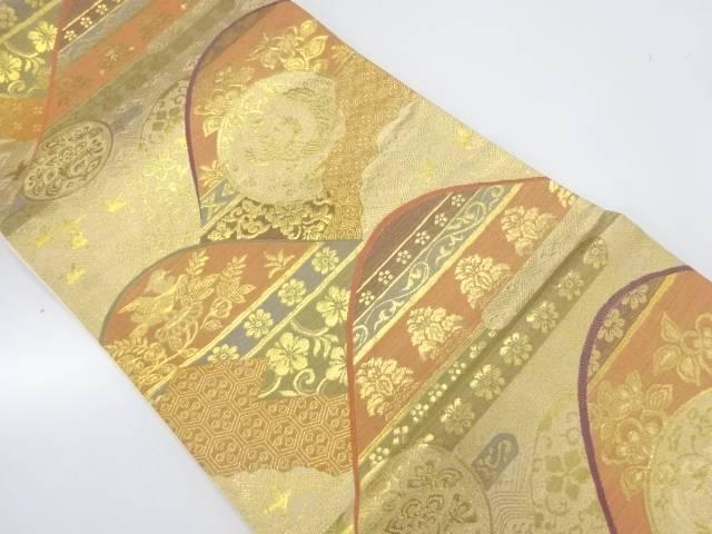 山並みに鳳凰・花模様織出し袋帯【リサイクル】【中古】【着】 宗sou