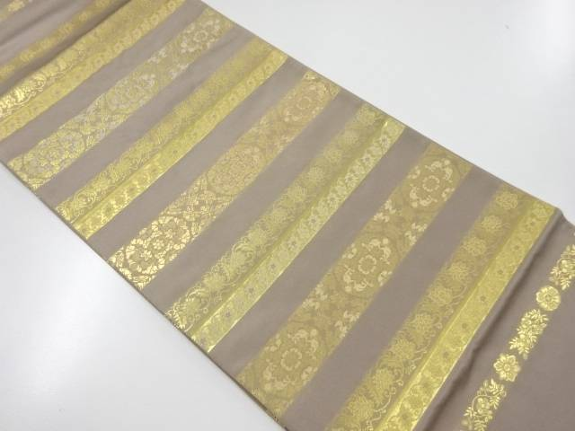 未使用品 草木染本金箔横段に華紋織出袋帯【リサイクル】【着】 宗sou