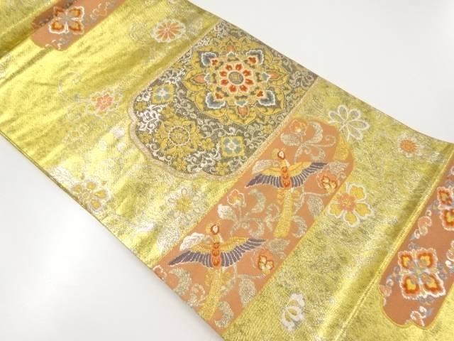 金銀糸華紋に尾長鳥模様織り出し袋帯【リサイクル】【中古】【着】 宗sou