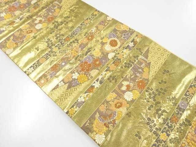 本金箔横段に草花蝶模様織出袋帯【リサイクル】【中古】【着】 宗sou