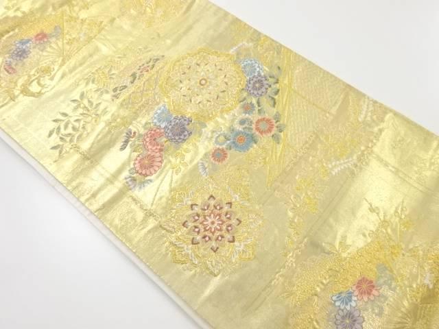 本金家紋に草花・扇模様織り出し袋帯【リサイクル】【中古】【着】 宗sou