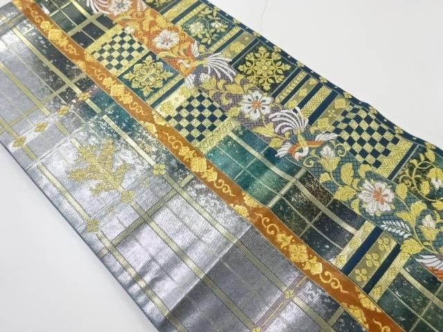 金銀糸縞に花鳥更紗模様織り出し袋帯【リサイクル】【中古】【着】 宗sou