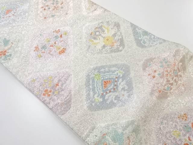 銀糸華紋に向かい鳥模様織り出し袋帯【リサイクル】【中古】【着】 宗sou
